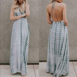 Aluna Levi Dresses - Teal Open Back Maxi Dress